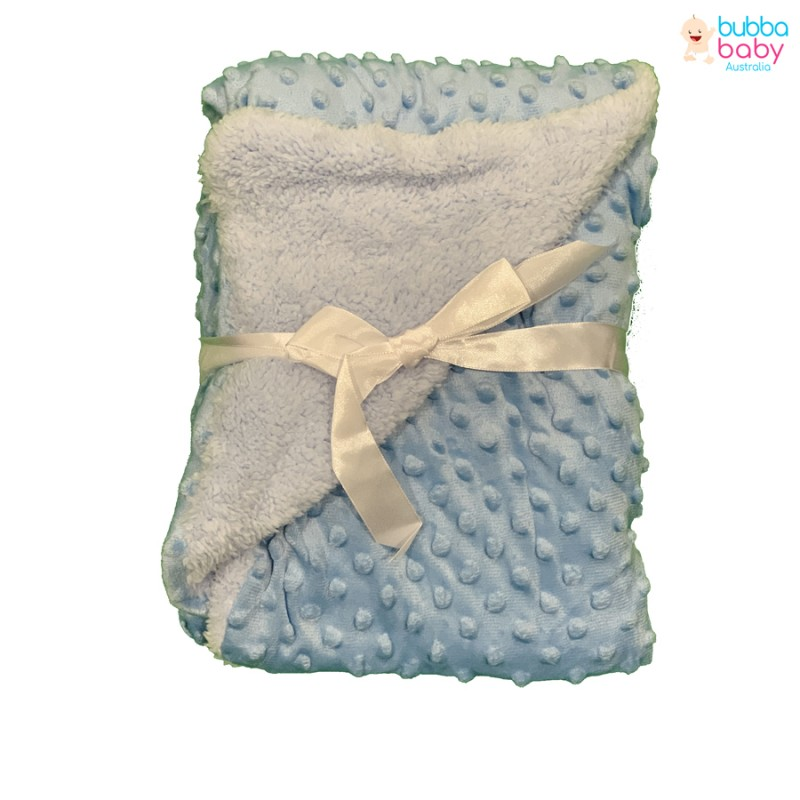 Baby Blue Minky Dot Blanket