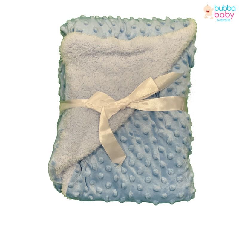 Baby Blue Minky Dot Blanket