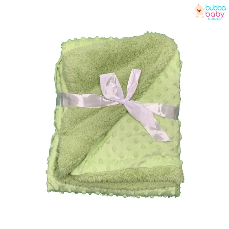 Green Minky Dot Blanket