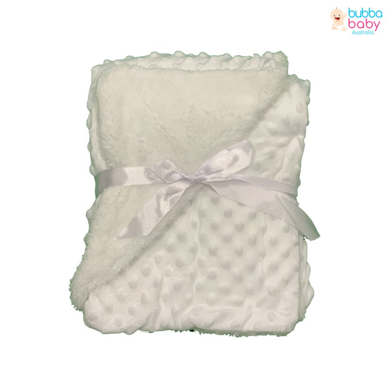 White Minky Dot Blanket