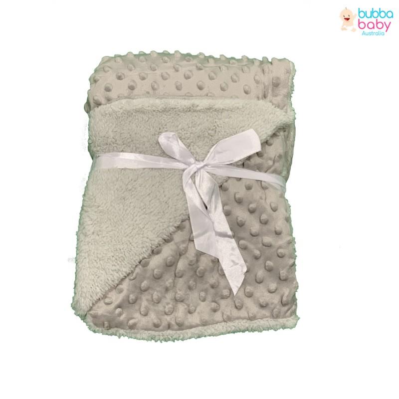 Grey Minky Dot Blanket
