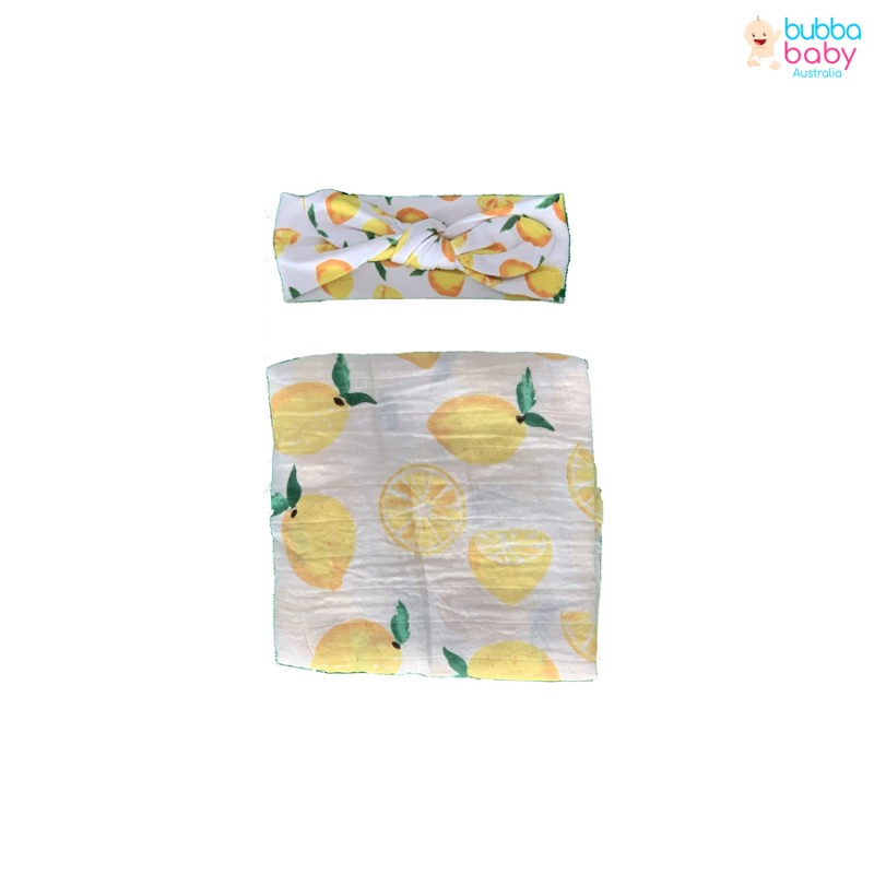 Lemon Swaddle and Headband Set