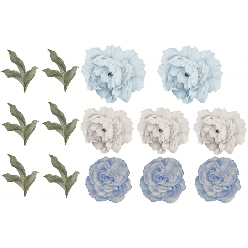 Blue Peony Flower Removable...